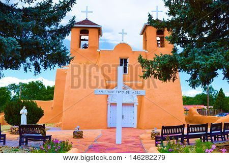 Historic San Francisco de Asis Mission Church completed in 1816 which has Spanish colonial architectural design taken in Taos, NM