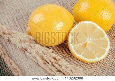 Lemon On Burlap Fabric (vintage Faded Filter)