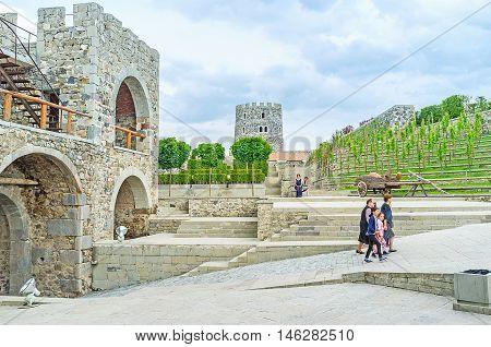 AKHALTSIKHE GEORGIA - MAY 27 2016: The entrance gate of Rabati fortress adjacent to the ornamental garden and the grape wines on May 27 in Akhaltsikhe Georgia.