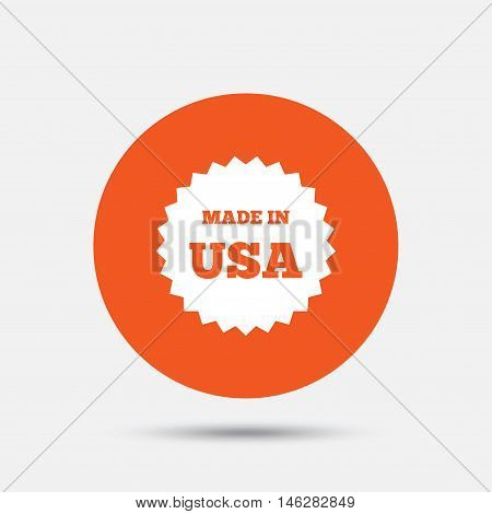 Made in the USA icon. Export production symbol. Product created in America sign. Orange circle button with icon. Vector