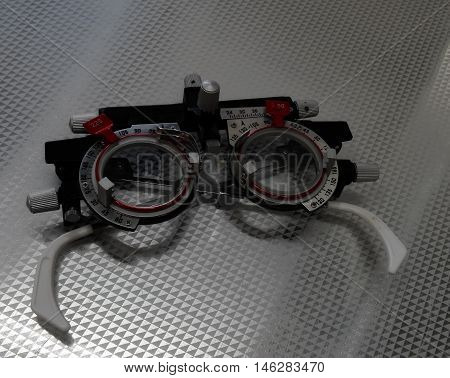 Vintage optometry eye glasses with correction lenses detailed stock image