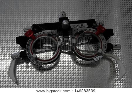 Mechanical diagnostic eyeglasses with correction lenses macro shot