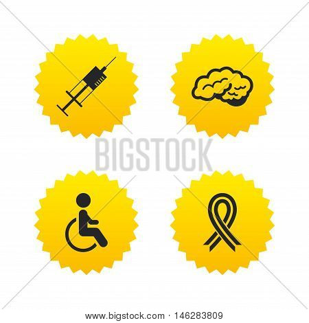 Medicine icons. Syringe, disabled, brain and ribbon signs. Breast cancer awareness symbol. Handicapped invalid. Yellow stars labels with flat icons. Vector