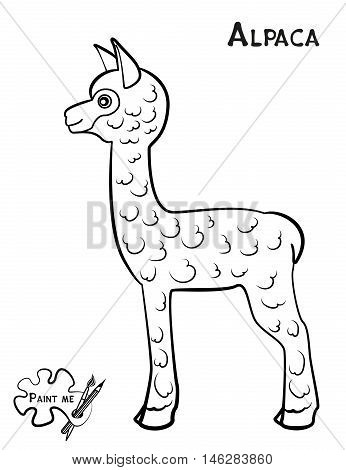 Children's Coloring Book That Says Paint Me. Alpaca