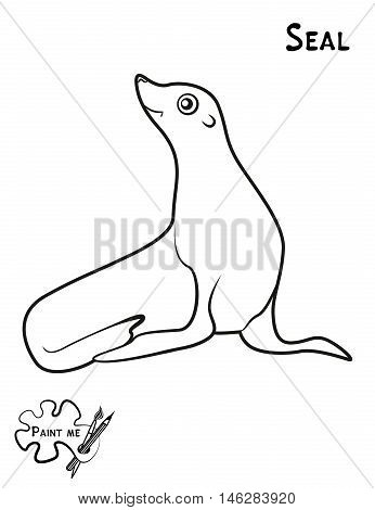 Children's coloring book that says Paint me. Seal