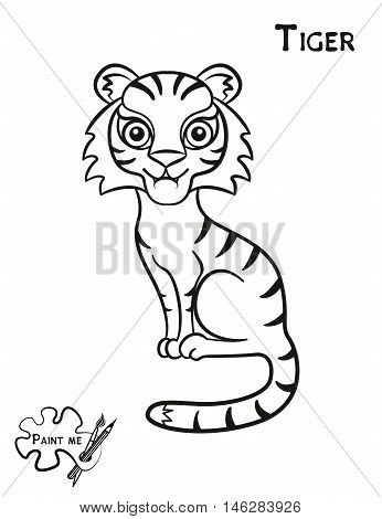 Children's coloring book that says Paint me. Tiger