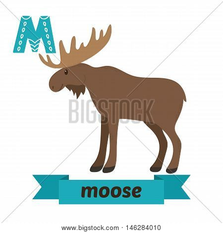 Moose. M Letter. Cute Children Animal Alphabet In Vector. Funny Cartoon Animals