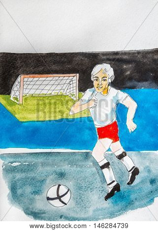 Watercolor drawing painting  soccer player playing ball. Sport socker concept. Collection of hand made water color art draw paintings.