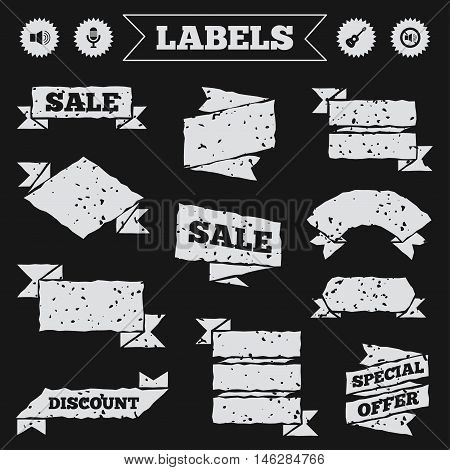 Stickers, tags and banners with grunge. Musical elements icons. Microphone and Sound speaker symbols. No Sound and acoustic guitar signs. Sale or discount labels. Vector