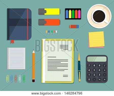 Top view of a desk background/ There is a calculator, office elements, stationery, documents and cup of coffee on a blue background. Flat design vector illustration