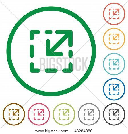 Set of resize tool color round outlined flat icons on white background