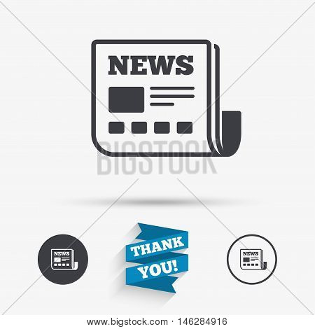 News icon. Newspaper sign. Mass media symbol. Flat icons. Buttons with icons. Thank you ribbon. Vector