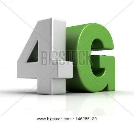 3d image of 4G text isolated on white  background