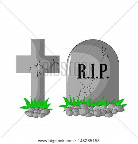 Tombstone Rip And Cross With Stones And Grass Isolated