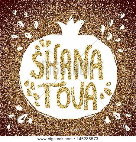 Rosh Hashanah greeting card with pomegranate. Shana Tova or Jewish New year symbols. Vector illustration.