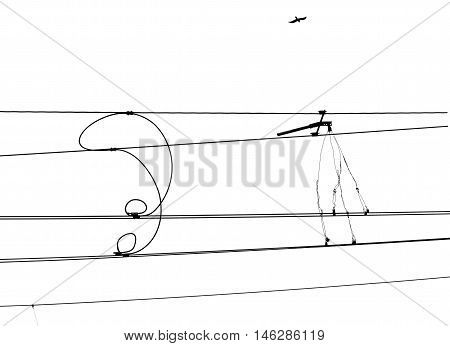 Isolated railway electrification system. Overhead line wire over rail track. Power lines.