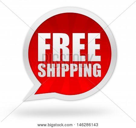 free shipping badge 3d illustration isolated on white background