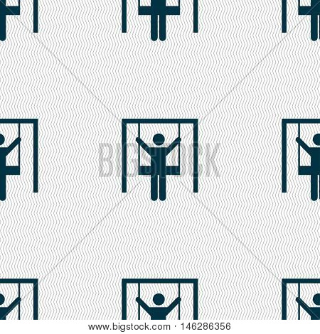 Child Swinging Icon Sign. Seamless Pattern With Geometric Texture. Vector