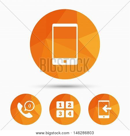 Phone icons. Smartphone incoming call sign. Call center support symbol. Cellphone keyboard symbol. Triangular low poly buttons with shadow. Vector