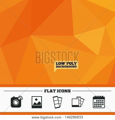 Triangular low poly orange background. Hipster photo camera icon. Flash light symbol. Photo booth strips sign. Landscape photo frame. Calendar flat icon. Vector