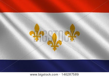 Flag of New Orleans in the state of Louisiana United States. 3D illustration