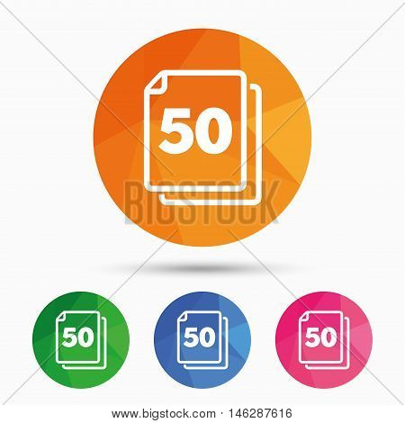 In pack 50 sheets sign icon. 50 papers symbol. Triangular low poly button with flat icon. Vector