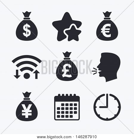 Money bag icons. Dollar, Euro, Pound and Yen symbols. USD, EUR, GBP and JPY currency signs. Wifi internet, favorite stars, calendar and clock. Talking head. Vector