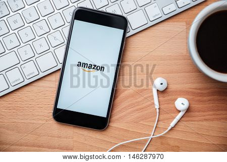 SARAWAK, MALAYSIA -April 27th,2016: Amazon apps on iphone screen. Amazon owned by Amazon Inc., the largest internet retailer in United States