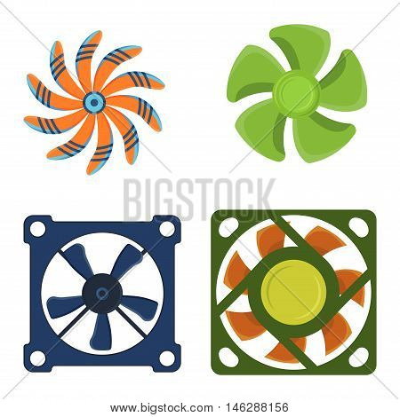 Computer cooler isolated on white background and computer cooler vector icon. Cooling processor black part computer cooler and computer cooler device component electric industry ventilator.