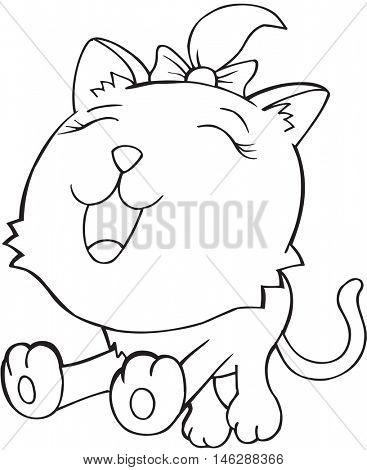 Cute Doodle Cat Vector Illustration Art