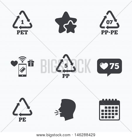 PET 1, PP-pe 07, PP 5 and PE icons. High-density Polyethylene terephthalate sign. Recycling symbol. Flat talking head, calendar icons. Stars, like counter icons. Vector