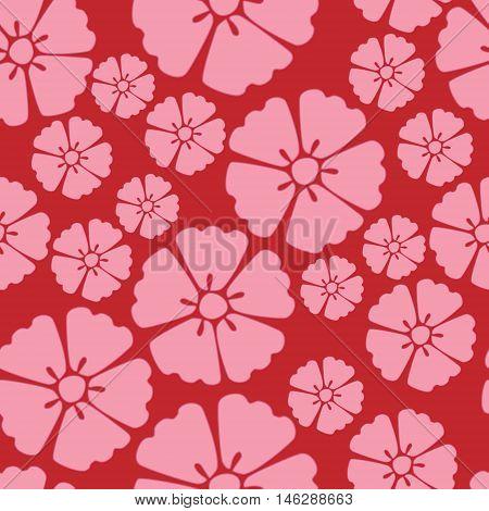 Elegant pink sakura cherry blossom seamless pattern background over red