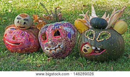 KIKINDA SERBIA - OCTOBER 11 2014: Halloween pumpkins made by children with humor. Festival of pumpkins.