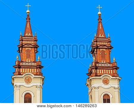 Towers of one orthodox church in Arad Romania.