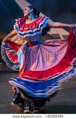 TIMISOARA ROMANIA - JULY 92016:Young dancer from Costa Rica in traditional costume present at the international folk festival