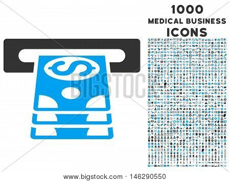 Bank Cashpoint glyph bicolor icon with 1000 medical business icons. Set style is flat pictograms blue and gray colors white background.