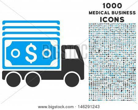 Cash Lorry glyph bicolor icon with 1000 medical business icons. Set style is flat pictograms blue and gray colors white background.