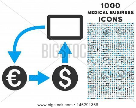 Cashflow Euro Exchange glyph bicolor icon with 1000 medical business icons. Set style is flat pictograms, blue and gray colors, white background.