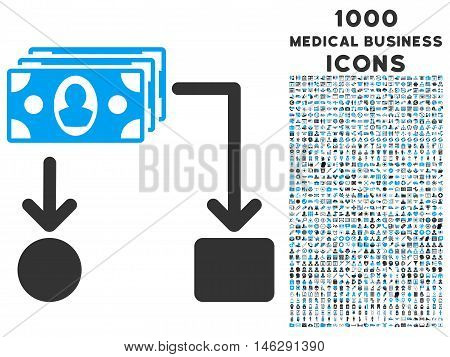 Cashflow glyph bicolor icon with 1000 medical business icons. Set style is flat pictograms, blue and gray colors, white background.