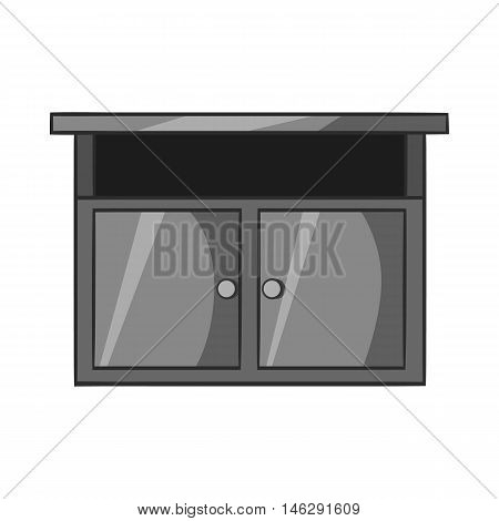 Bedside table icon in black monochrome style isolated on white background. Furniture symbol vector illustration