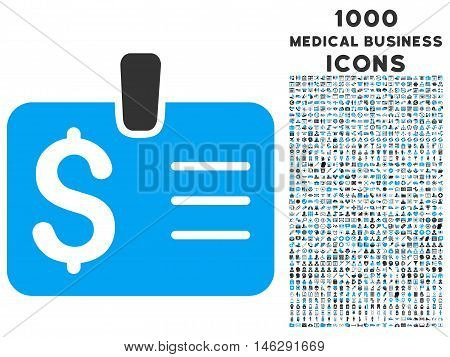 Dollar Badge glyph bicolor icon with 1000 medical business icons. Set style is flat pictograms blue and gray colors white background.