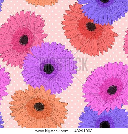 Beautiful background with gerbera flower. Hand-drawn contour lines and strokes.