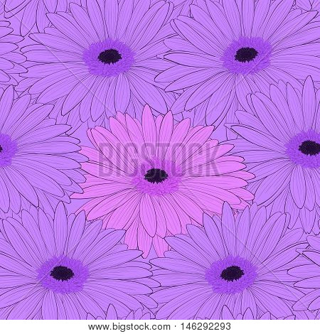 Beautiful background with gerbera flower . Hand-drawn contour lines and strokes.