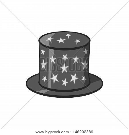 Hat of magician icon in black monochrome style isolated on white background. Holiday symbol vector illustration