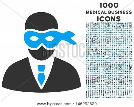 Masked Thief glyph bicolor icon with 1000 medical business icons. Set style is flat pictograms blue and gray colors white background.