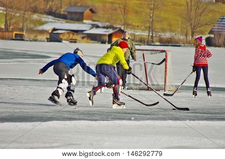 Weissensee In Winter: Hockey And Ice Skating
