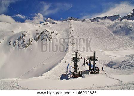TONALEIT - CIRCA NOVEMBER 2011- The old ski lift of Presena Glacier.