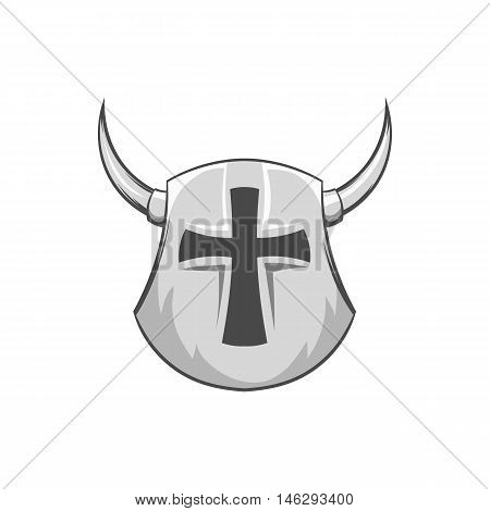 Combat helmet with cross and horns icon in black monochrome style isolated on white background. Medieval warriors outfit symbol vector illustration