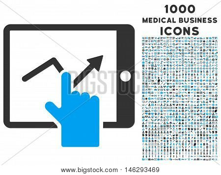 Tap Trend on Pda glyph bicolor icon with 1000 medical business icons. Set style is flat pictograms blue and gray colors white background.