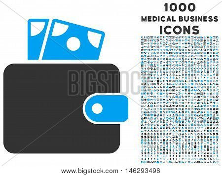 Wallet glyph bicolor icon with 1000 medical business icons. Set style is flat pictograms blue and gray colors white background.
